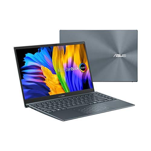 "ASUS ZenBook 13 Ultra-Slim Laptop, 13.3"" OLED FHD NanoEdge Bezel Display, AMD Ryzen 5 5500U, 8GB LPDDR4X RAM, 512GB PCIe SSD, NumberPad, Windows 10 Home, Pine Grey-UM325UA-DS51"