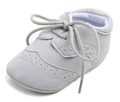 Anrenity Toddlers for Girls Boys Lace up Moccasins Prewalker Sneakers Dress Shoes JDX-001GY Gray 6-12 Months
