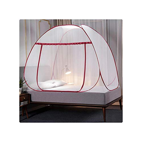 HOT-house Bed Curtain Canopy| Pops-Up Mosquito Net Tent For Beds Anti Mosquito Bites Folding Design With Full Bottom For Trip UD88-Burgundy-1.8m (6 Feet) Bed