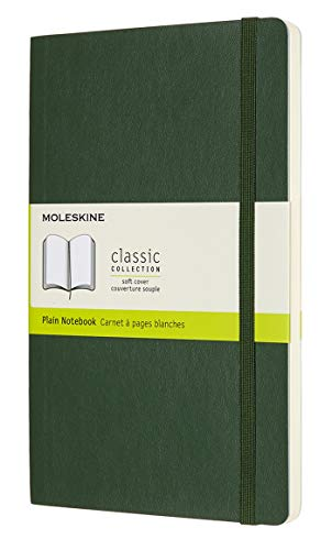 Moleskine Classic Notebook, Soft Cover, Large (5 x 8.25) Plain/Blank, Myrtle Green, 192 Pages
