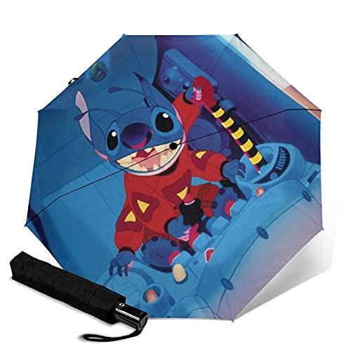 Lilo - Paraguas plegable automático, ligero y portátil, para fines soleados y lluviosos, sombreado y resistente a los rayos UV