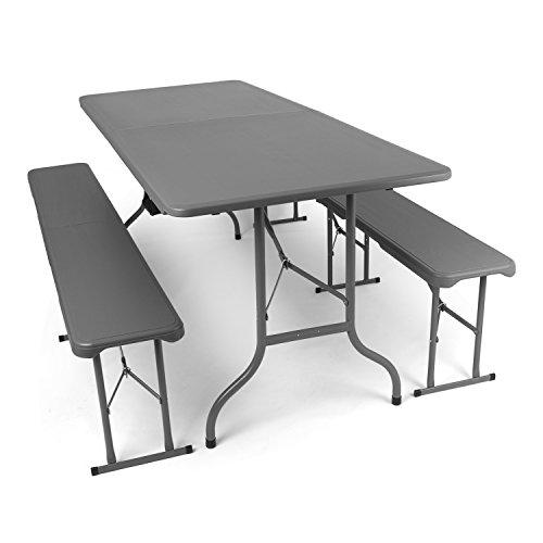 Park Alley PA-4925 Tavolo da Buffet Pieghevole, Grigio, 180x75x74 cm