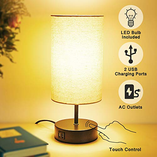 Touch Control Table Lamp with 2 USB Charging PortsAC Outlet60W LED Bulb IncludedFabric Lampshade3Way Dimmable Modern Nightstand Lamp Bedside Lamp for Bedroom Living Room Office
