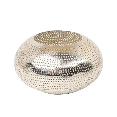 Casa Moro Orientalisches Windlicht Selim aus echt versilbertem Messing | Kunsthandwerk aus Marokko | Marokkanische Laterne Handmade Teelichthalter | Originelle Geschenk-Idee Dekoration | L8015