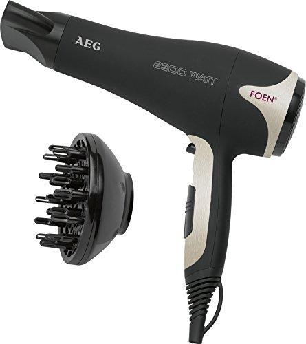 AEG HTD 5595 - Secador de pelo profesional con difusor, 3 niveles de temperatura, 2 velocidades, cable de 2 metros, 2200 W, color negro