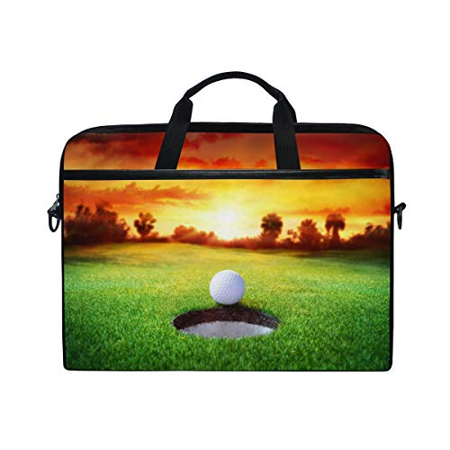 QMIN Laptoptasche, Sport, Golfball, Sonnenuntergang, Computer, Reißverschluss, Messenger-Tasche mit Schultergurt für 35,6 - 36,8 cm (14 - 14,5 Zoll) Dell HP Lenovo MacBook
