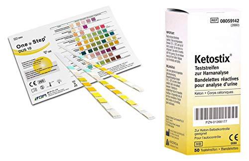Vorteilspaket 15 Stück One+Step Gesundheitstest für 10 Indikatoren mit Referenzfarbkarte plus 50 Stk. KETOSTIX Teststreifen
