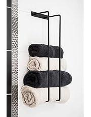 ACG Handdoeken Houder Massief Staal Metalen Handgemaakte Handdoeken Badhanddoeken Muur Mount Badkamer Accessoires Moderne Decoratieve Ontwerp Handdoekenrek Voor Badkamer Zwarte Kleur (Grote - 76x17.5x12)