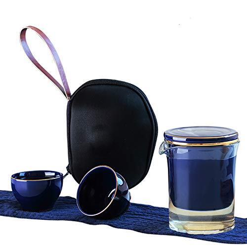 XNJHMS Japanese Style Tea Cup Office Travel Tea Maker One Pot, Two Cups Travel Tea Set Household Outdoor Carrying Case Gongfu Teapot