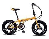 DRAKE18 Bicicleta de Ciudad Plegable, Bicicleta Ultraligera de 20 Pulgadas y 7 velocidades Variables, Frenos de Disco Doble, Viaje de cercanías a la Ciudad, para Estudiantes Adolescentes