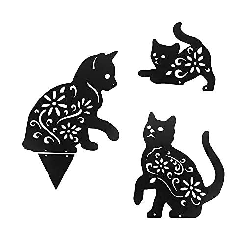 YeenGreen Metallo Cat Giardino, 3 Pezzi Sagoma Gatto in Metallo Scava Fuori Palo da Giardino in Metallo per Animali Animali da Giardino, Giardino Arte