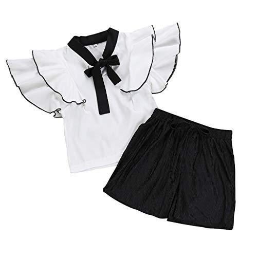 Sannysis 2 STÜCKE Kleinkind Kinder Baby Mädchen Rüschen Solid Color T-Shirt Top Blusen + Hose Set Kleidung