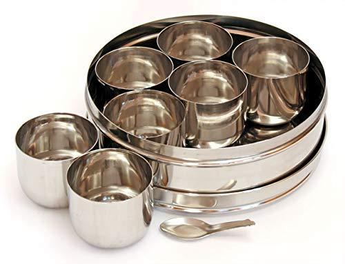 WhopperIndia Edelstahl Runde Gewürzdose Küche Masala Dabba 7 Fächer Doppeldeckel, 8 Zoll (Silber)