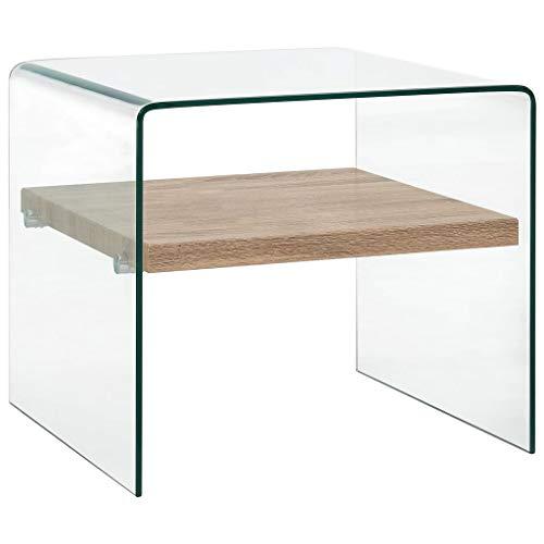vidaXL Mesa Centro Vidrio Templado Transparente Mobiliario Hogar Decoración Moderna Estilo Minimalista Atemporal Vidrio Seguro Resistente 50x50x45cm