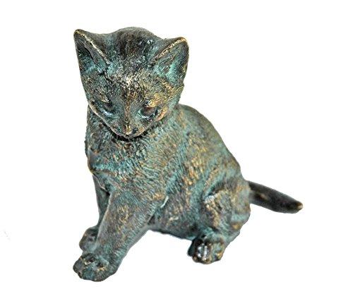 Bronze-Figur by YERD Gartendeko: Junge Bronze Katze sitzend, 13cm