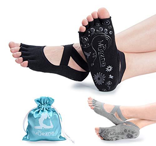 Muezna Non Slip Yoga Socks for Women, Toeless Anti-Skid Pilates, Barre, Ballet, Bikram Workout Socks with Grips
