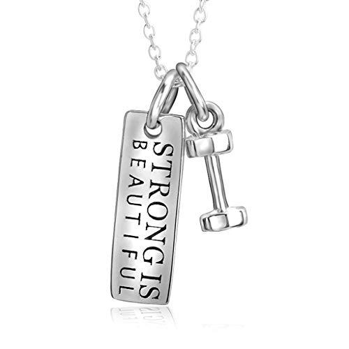 AUEDC S925 Sterling Silber Halskette Modetrend Hantel Anhänger Unisex Modeschmuck Geschenk für Kleidung passend