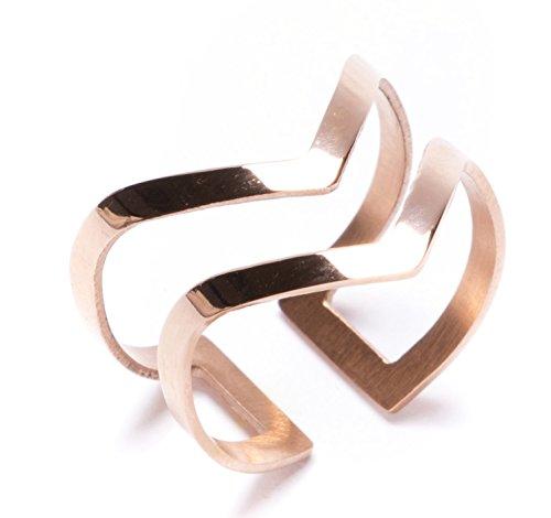 Happiness Boutique Damen Offener Ring in Rosegold | Statement Ring Doppel V Design Rosegold Schmuck aus Titan