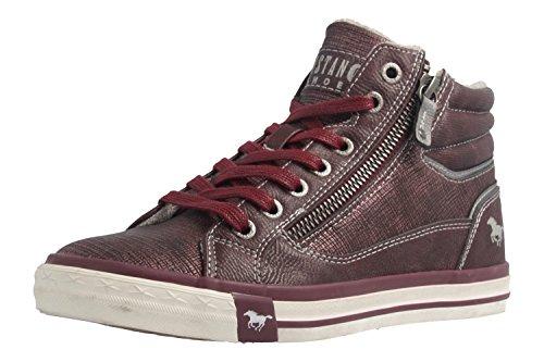 MUSTANG Damen High Top Sneaker gefüttert Bordeaux, Schuhgröße:EUR 45