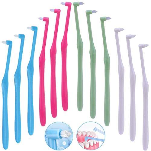12 cepillos de dientes interespaciales manuales para aparatos ortopédicos y puentes, cepillo de dientes suave y delgado, sin BPA, cepillos dentales para áreas difíciles de alcanzar, limpieza profunda