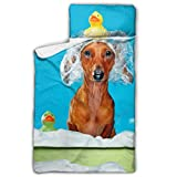 N\A Dog In Bath Take Shower Toddler Cot Sleeping Bag Kid Camping Sleeping Bag With Blanket And Pillow Rollup...