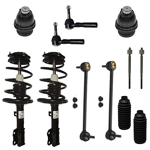 Detroit Axle - 12 pc front suspension kit for 2009-2012 Dodge Caliber - [2007-2017 Jeep Compass] - 2007-2017 Jeep Patriot - Lower Ball Joints, Outer Tie Rods, Inner Tie Rods, Front Strut Assemblies