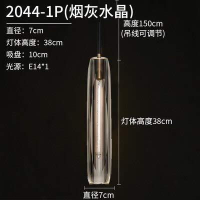 Lámpara de cristal para comedor con lámpara de cobre para iluminación de dormitorio, iluminación elevada, color blanco y gris humo