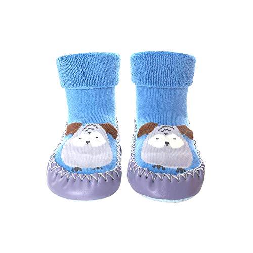 TrifyCore Bébé antidérapants Chaussettes Bottes respirant Chaussures coton Cartoon Slipper chaussettes pour enfants en bas âge, 13CM Bleu Nouveau-nés