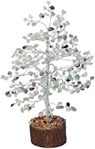 YATHABI Fluorite Gemstone Handmade Tree of Life Bonsai Feng Shui Attracting Positive Energies Crystal Healing Chakra Cleansing Home Decor Good Luck Wealth Prosperity Stone Home Décor Gift 10 Inch