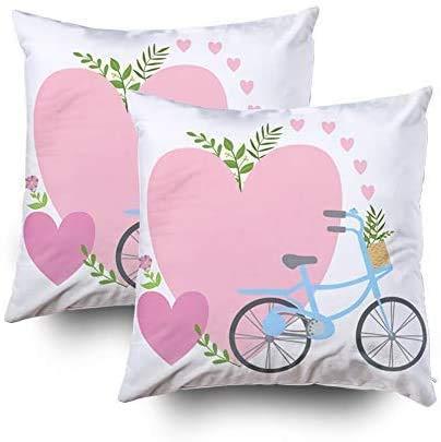 Keyboard cover Butlerame - Fundas de almohada grandes, fundas de bicicleta y dos corazones rosas y plantas, para San Valentín, mensaje de «Te falta en San Valentín», 2 unidades