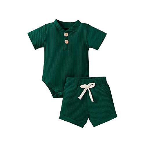Unisex Neugeborene 2 Stück Baby Junge Mädchen Strick Kleidung, Solid Button Kurzarm Bodys Strampler Tops Kurze Hosen Outfit (Dunkelgrün, 6-12 Monate)
