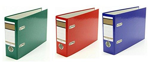 3x Ordner / A5 quer / 75mm breit / Farbe: je 1x grün, blau und rot