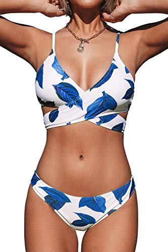 CUPSHE Damen Push Up Bikini Set Blättermuster Crossover Bademode Zweiteiliger Badeanzug Blau/Weiß L
