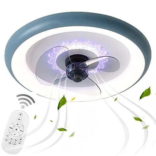 Silencioso Ventilador De Techo con Luz Lámpara Azul Acrílico Mando a Distancia Velocidad Viento Intensidad Regulable Temporizador Techo Tranquila Luz Lámpara Colgante Dormitorio Iluminación VOMI