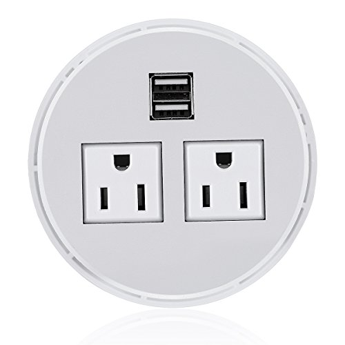 Desktop Power Grommet Hub 2 Power Socket & Dual USB Ports for Office Desk Grommet Outlet Table Recessed Power Outlet Durable Plastic Top (White) with 6 FT Power Cord