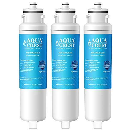 AQUACREST DW2042FR-09 Refrigerator Water Filter, Compatible with Daewoo DW2042FR, Kenmore 46-9130, DW2042FR-09, Aqua Crystal DW2042F-09 (Pack of 3)