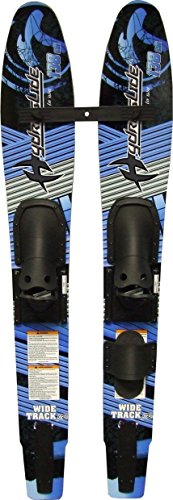 Hydroslide Junior Wide Track Intermediate Water Skis Combo Pair, Black, 54-Inch