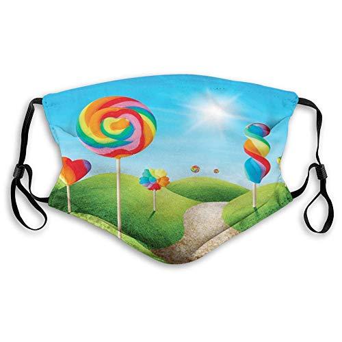 Funda cómoda a prueba de viento impresa, fantasía, Candy Land con deliciosas piruletas y dulces Sun alegre impresión divertida, verde azul rojo, decoraciones faciales para adultos tamaño: M SE-0933