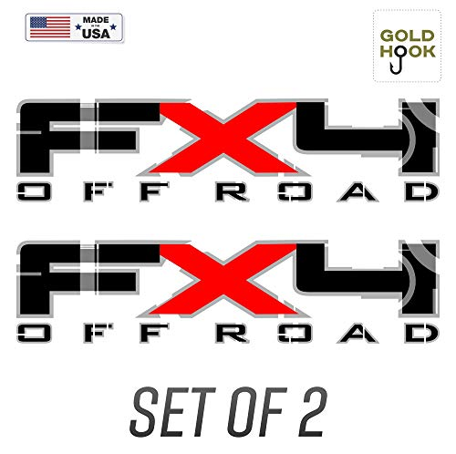 GOLD HOOK Set of 2 - Ford F150 FX4 Off Road Decals F Truck Stickers Bed Side Graphic