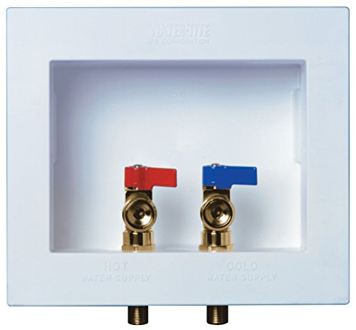 Water-Tite Du-All Dual Drain Washing Machine Outlet Box with Brass Qtr-turn Valves, Installed, 1/2' CPVC Conx
