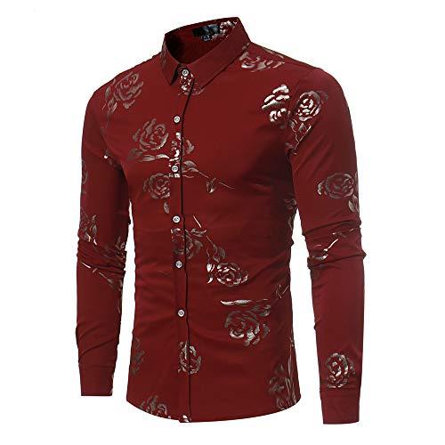 WYX Camisa De La Fiesta De Bodas Casual Rose Impresión Floral Floral Camisas De...