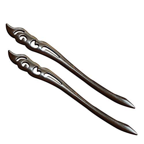 frcolor Lot de 2 bâtonnets pour cheveux en bois vintage femme fille FORCINA baguettes pour cheveux en ébène Naturel épingles à cheveux pour cheveux longs