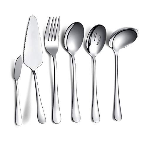Kyraton Juego de cubiertos de acero inoxidable para 6 piezas, incluye 1 de cada cucharón, servidor para pasteles, tenedor para carne fría, cuchara para servir, cuchara ranurada,...
