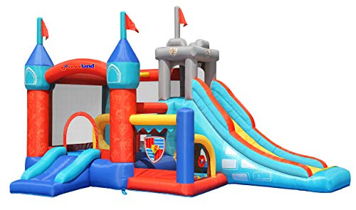 Bounceland Medieval Bounce Castle Bounce House with Slide & Ball Pit, Basketball Hoop and Ball Toss Game Included, Long Fun Slide, Obstacle Courts, Comes with UL Certified Blower Fun Party