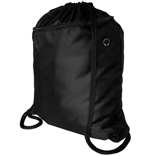Zavalti Sac à dos avec cordon de serrage Sac de sport Grande poche zippée avec passe-fil pour écouteurs et cordons extra épais 49 x 39 cm Sac de plage, sac pour livres, sac de sport ou sac pour l'école , noir