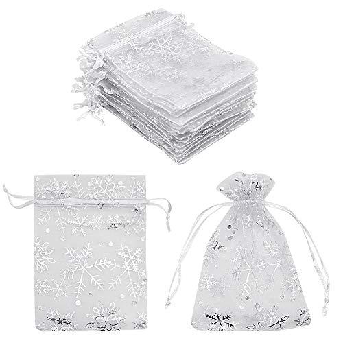 100 Stück Organza-Geschenkbeutel weiß Schneeflocke 10 x 15 cm kleine weiße Netz-Schmuckbeutel kleine Kordelzug Süßigkeiten-Beutel für Weihnachten