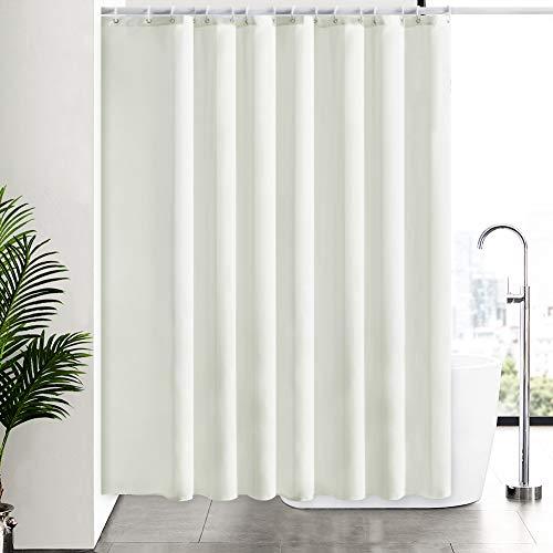 Furlinic Überlänge Duschvorhang Beige Antischimmel, Badvorhang aus Polyester Stoff Textil Wasserabweisend Waschbar, Vorhang für Badewanne und Dusche, mit 16 Ringe 244x200.
