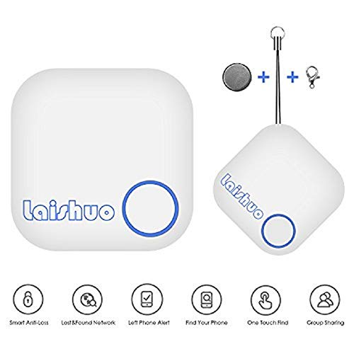 Bluetooth Tracker, Bluetooth Keys Tracker, Bari Key Finder Tracking Wallet Key Bag Pet Dog Tracer Locator Alarm Patch GPS Locator for iOS/iPhone/iPod/iPad/Android(White)
