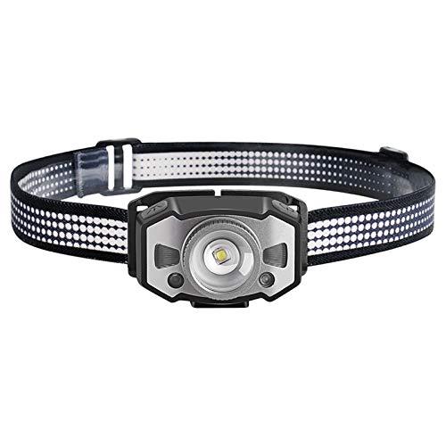 Foairs Stirnlampe LED Wiederaufladbar Kopflampe Stirnlampe mit Geste Sensor und 5 Beleuchtungsmodi, Wasserfeste Leichtgewichts Zoombar Mini LED Stirnlampe Rotlicht für Laufen, Camping, Wandern, Joggen
