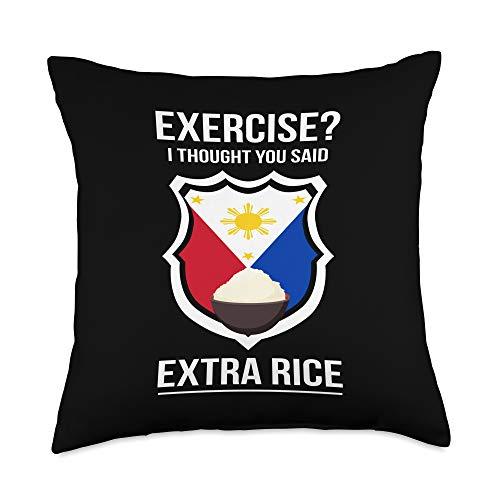 Manila Gift Ideas Filipina & Filipino Funny Filipina Filipino Food Joke Rice Philippines Throw Pillow, 18x18, Multicolor